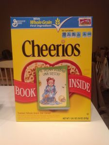 Cheerios Box with Can I just Take a Nap? in it.